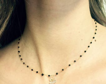 black bakelite drops with gold filled chain and aquamarine tiny trio