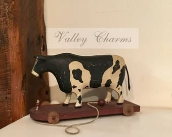 Wood Pull Toy, Cow - Primitives by Cathy