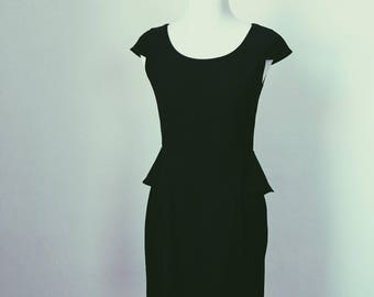 Andrew Marc Little Black Dress, LBD, with Cap Sleeves and Peplum Waist