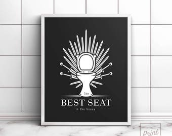 Bathroom Sign Game funny bathroom art game of throne print best seat in the