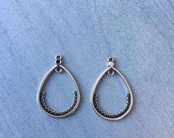 Drop earrings 18 holes silver aged