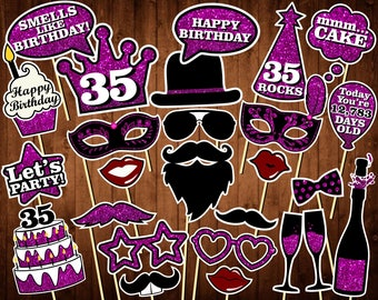 35th Birthday Photo Booth Props - Printable PDF - INSTANT DOWNLOAD - 35th Birthday Party Supplies - Purple Glitter Props