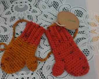 toddler mittens, orange mittens, crochet mittens, ready to ship