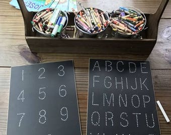 BUNDLE: Traceboards - Traceable Chalkboard - Learning Toy - Uppercase Letters and Numbers 1 through 10