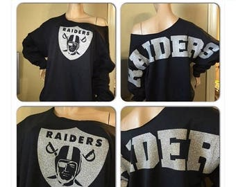 ON SALE Raiders off the shoulder sweatshirt | Oakland Raiders Sweatshirt | Oversized print | Bling sweatshirt