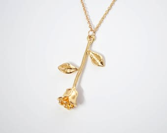 Gold Rose Necklace / Rose Charm Necklace