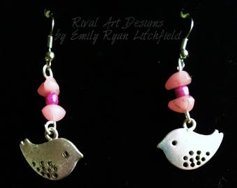 Silver Birds Earrings with Pink beads