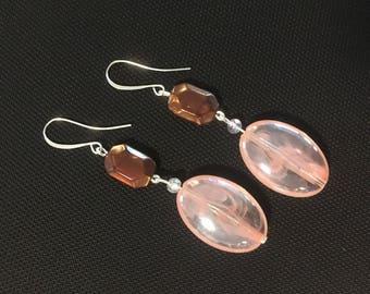 Pink and brown bead dangle fishhook earrings