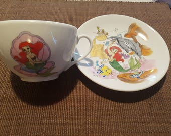 Bowl and saucer porcelain hand painted Ariel the Little Mermaid