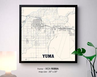 Yuma Arizona Map Print, Yuma Square Map Poster, Yuma Wall Art, Yuma gift, Custom Personalized map