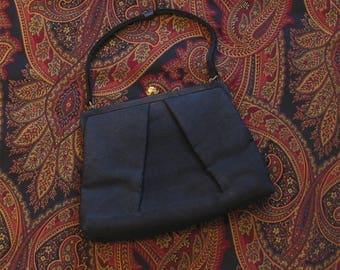 1940s Vintage Black Evening Bag, Black Fabric 40s handbag, Vintage Black Purse