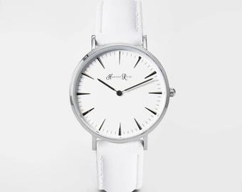 Ladies Watch, Women Leather bracelet, minimalist, gift for her, cheap leather watch, Christmas Watch, White Leather (Silver/White)
