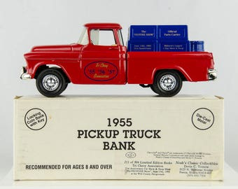 Only 504 Made Ertl 1955 Pickup Truck Diecast Bank 1/25 Scale Tri Chevy Assoc