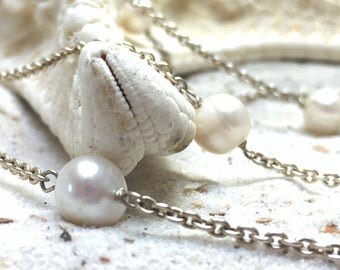 Very Long White fresh-water pearl Necklace / Sterling Silver