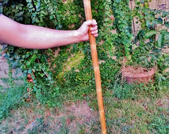Shakujo style Top Grade Iron Bamboo Walking Stick