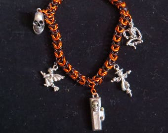 Chainmail Halloween Charm Bracelet- Samhain, Autumn, Trick-or-Treat, All Hallow's Eve, October, Skeleton, Witch, Scarecrow, Skull, Coffin