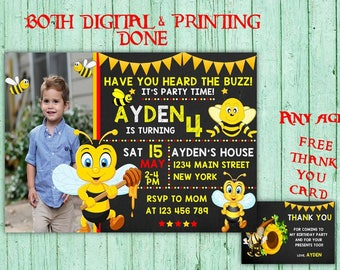 Bumble Bee Birthday Invitations Bumble Bee Photo Birthday Party Bumble Bee Kids Birthday Printable Invitations Bee Printables