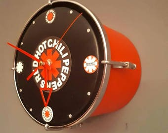 Red Hot Chilli Peppers upcycled bespoke drum clock