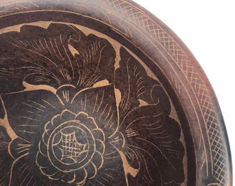 Vintage Etched Bowl from Indonesia // Clay Bowl etched with Floral Design // VTG Bohemian Decorative Bowl