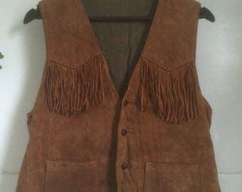 Vintage Men's 60's Brown Suede Fringe Vest