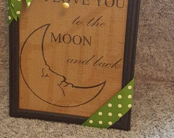 Love you to the moon printed burlap frame