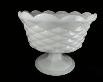 Milk glass dish on pedestal, compote