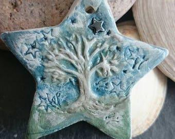 Stardecoration, handmade hand painted clay hanging decoration, star decoration, hand painted tree decoration