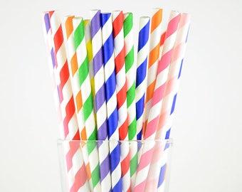 Rainbow Paper Straws Mix - Striped Straws - Party Decor Supply - Cake Pop Sticks - Party Favor