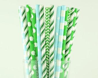 Green/Light Blue Paper Straws Mix - Party Decor Supply - Cake Pop Sticks - Party Favor