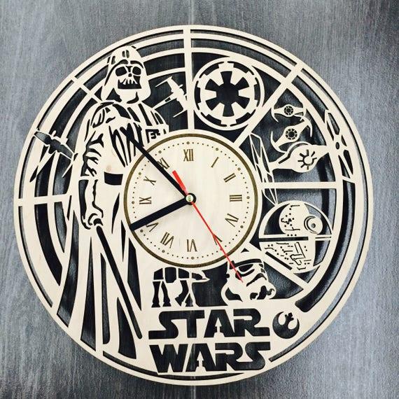 Star wars darth vader wall art wall wood clock star wars home - Darth vader wall clock ...
