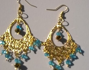 18 kt gold plated and crystal earrings