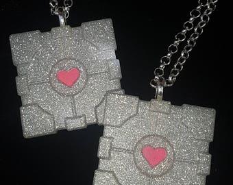 Glitter Portal Companion Cube Resin Necklace