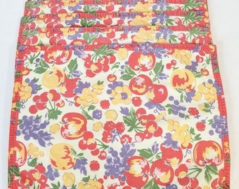 Vintage XOCHI Fuit Colorful Placemats Set of 5
