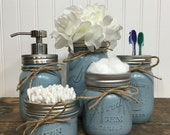 Mason Jar Set, Mason Jar Decor, Painted Mason Jars, Farmhouse Decor, Vintage Decor, Distressed Jars, Bathroom Decor