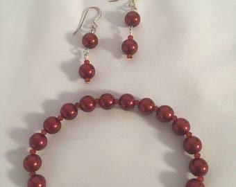 Red pearl bracelet and earrings