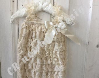 Vintage style newborn romper by side and Ribbon with bow creme newborn props