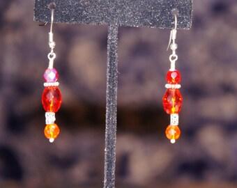 Red Crystal Dangle Earrings Vintage Looking