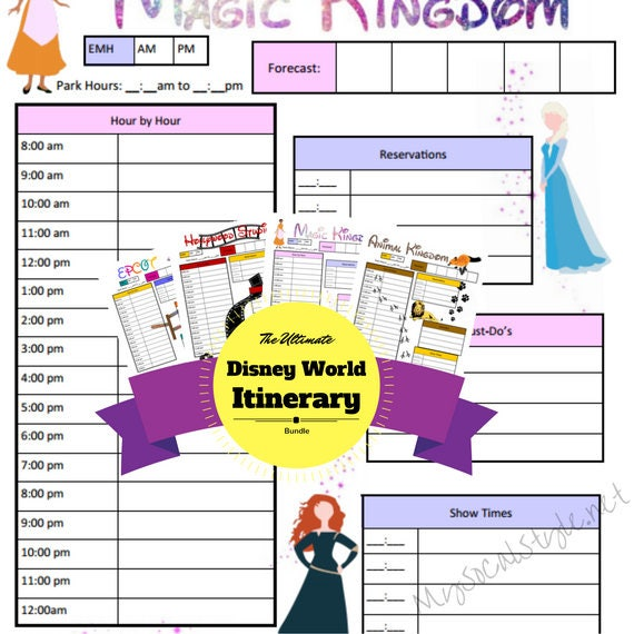 disney world planning printable itinerary template. Black Bedroom Furniture Sets. Home Design Ideas