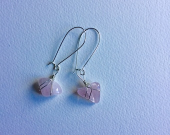 Rose Quartz wire wrapped earrings