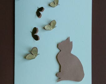 hand made greeting card, birthday card, cat and butterflies, raised silhouette card