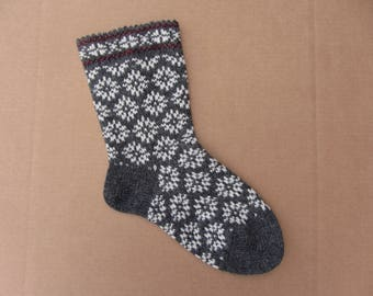 Wool socks. Women wool socks with skandinavian pattern. Warm and soft wool knitted socks