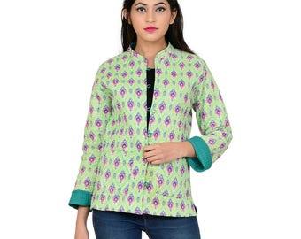 Indian  Geometrical  Block Print Green Cotton Women Regular Fit Jacket
