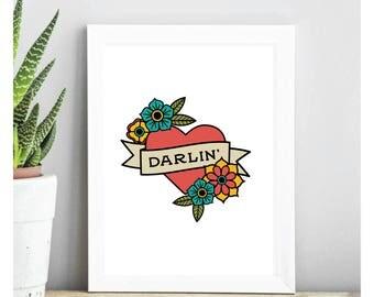 Darlin' Heart Traditional Tattoo 5x7 Digital Print