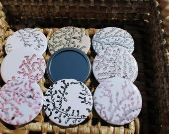 Pocket Mirror - Coral - Paragorgia - Pink - Marine - Beach - Diving - Pretty - Gift