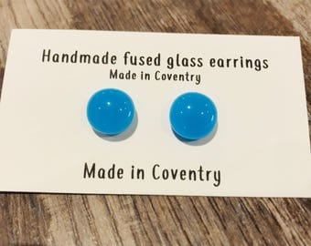 Turquoise Blue Fused Glass Earrings