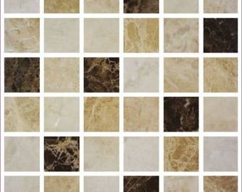 Pack of 10 grey marble effect mosaic tile stickers transfers, with added gloss affect, just peel and stick, bathroom kitchen