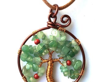Tree of life pendant insulated copper aventurine chips