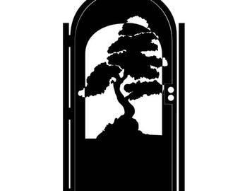 Decorative Steel Gate - Steel Panel Art - Zen Bonsai - Ornate Garden Gate - Artistic Wall Panel - Patterned Art Gate