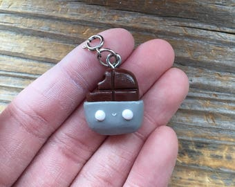 Polymer Clay Kawaii Chocolate Bar Charm With Ring Clasp