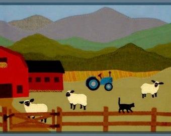 Green Mountain Farm - wool appliqué, cows, sheep, farm - FREE SHIPPING INCLUDED